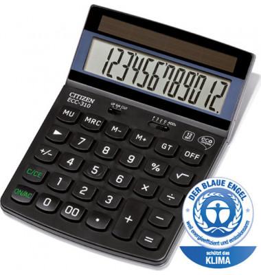 Taschenrechner ECC-310 12-stelliges Display, schwarz