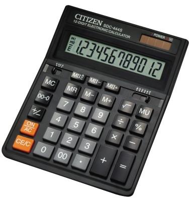 Tischrechner SDC-444S Solar-/Batterie LCD-Display schwarz 1-zeilig 12-stellig