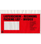 """Lieferscheintaschen Din Lang """"LIEFERSCHEIN - RECHNUNG"""" selbstklebend 100 Stück 522182"""