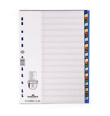 Kunststoffregister 6756-27 1-31 A4 0,12mm farbige Taben 31-teilig