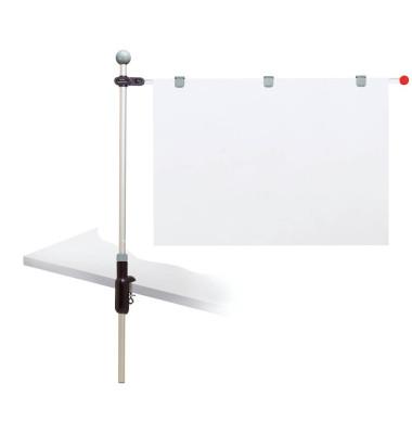 Planhalter Tischpresenter grau 1Alu-Arm + 3 Mag.Clip