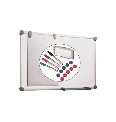 Whiteboard 2000 MAULpro 120 x 90cm kunststoffbeschichtet Aluminiumrahmen inkl. Marker / Magnete + Schwamm