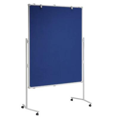 Moderationstafel Professional, 120x150cm, Textil + Textil (beidseitig), pinnbar, mit Rollen, blau + blau