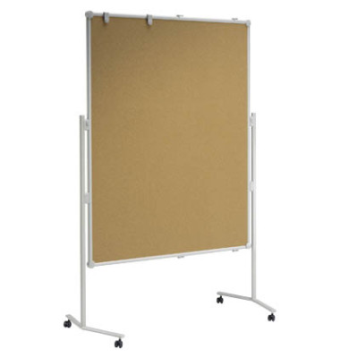 Moderationstafel Professional 63805-82, 120x150cm, Kork + Kork (beidseitig), pinnbar, mit Rollen, braun + braun