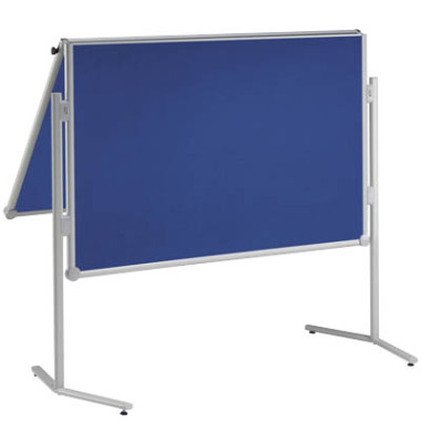Moderationstafel, 120x150cm, Textil + Textil (beidseitig), pinnbar, klappbar, blau + blau