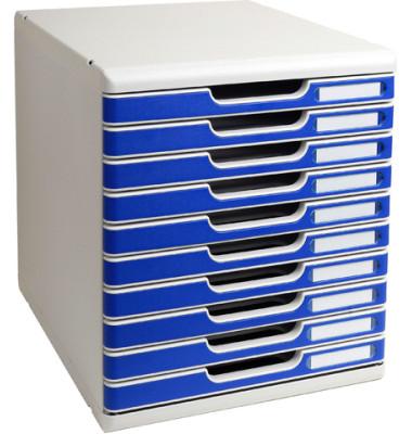 Schubladenbox Modulo 302003D lichtgrau/blau 10 Schubladen geschlossen