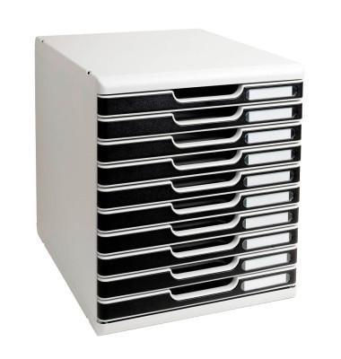 Schubladenbox Modulo 302014D lichtgrau/schwarz 10 Schubladen geschlossen