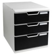 Schubladenbox Modulo 325014D lichtgrau/schwarz 3 Schubladen geschlossen
