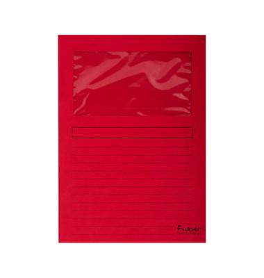 Sichtmappe Forever 5010 A4 120g Papier rot für lose Blätter mit Sichtfenster 100 Stück