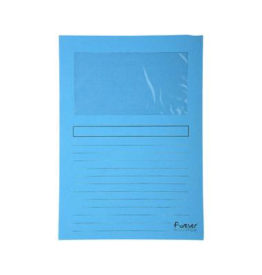 Sichtmappe Forever 5010 A4 120g Papier hellblau für lose Blätter mit Sichtfenster 100 Stück