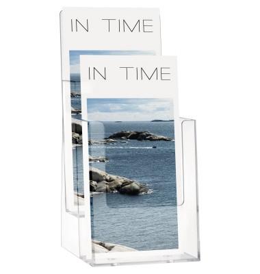 Tischprospekthalter f.2x1/3 A4 glasklar 270x115x125 Acryl