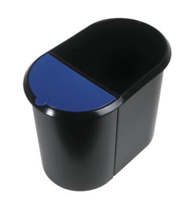 Papierkorb Duo 20 + 9 Liter schwarz/blau