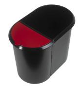 Papierkorb Duo 20 + 9 Liter schwarz/rot