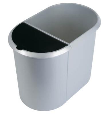 Papierkorb Duo 20 + 9 Liter silber/schwarz