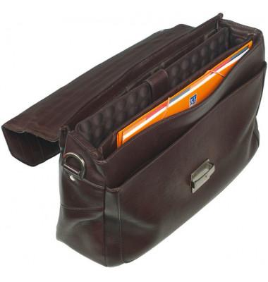 Notebooktasche Urban Line aus weichem Leder, dunkelbraun.