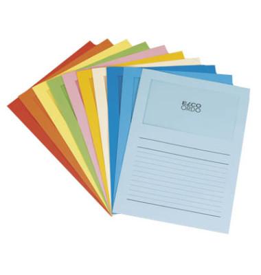 Sichtmappe Ordo classico 29488 A4 120g Papier farbig sortiert für lose Blätter mit Sichtfenster