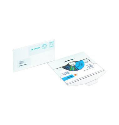 CD/DVD-Versandtasche 220x124x5mm Din Lang weiß 25 Stück