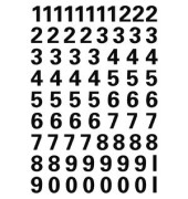 Zahlenetiketten 0 - 9 transparent Folie schwarz 10 mm hoch 4159