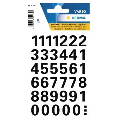 4164 Zahlen 15 mm 0-9 wetterfest Folie schwarz 1 Bl.