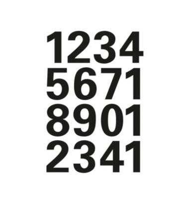 Zahlen 0-9,transp.Folie schwarz 25mm