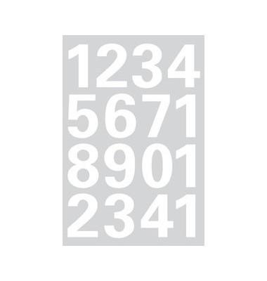 Etiketten Ziffern 0-9 Folie weiss 25mm 1 Bl