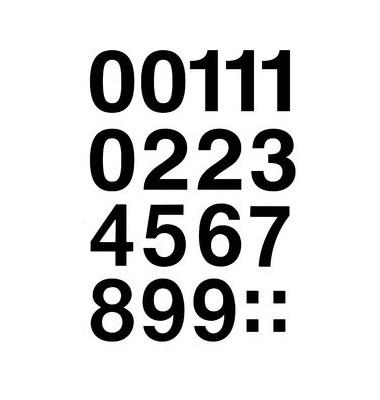 Zahlen 0-9 Folie schwarz 33mm 4189