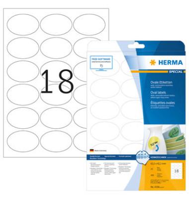 Etiketten 4358 63,5 x 42,3 mm weiß OVAL 450 Stück Special