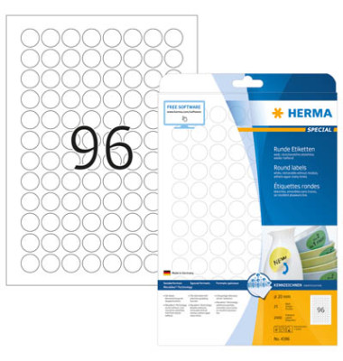 Etiketten 4386 Ø 20 mm weiß RUND 2400 Stück  Special