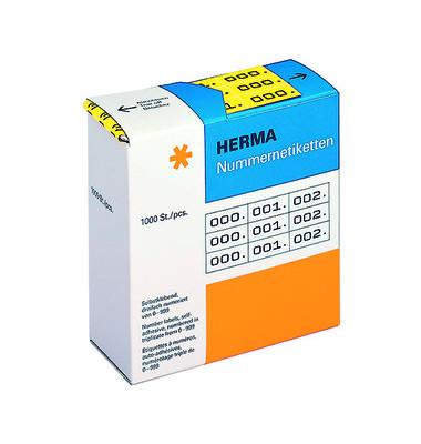 Nummernetiketten dreifach 0-999 gelb schwarz 10 x 22mm 4801 Stück