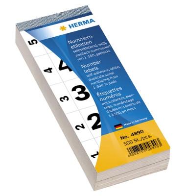 Nummernblock 1-500 SK weiß 28 x 56 mm doppelt