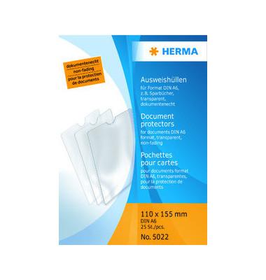 Ausweishüllen A6 PVC-Weichfolie glasklar 110x155mm 25 Stück