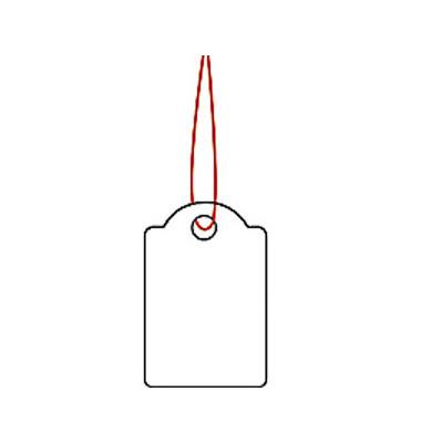 Hängeetiketten mit roten Faden weiss 15 x 24mm 6902