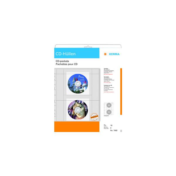 HERMA CD-Hüllen transparente Folie incl Papierhüllen 10 St.
