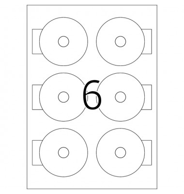 Etiketten für Mini CD weiss Ø 78mm 8619