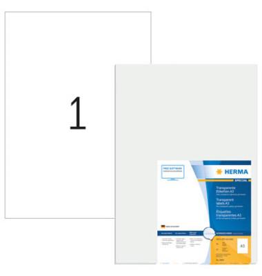 Etiketten 8694 297 x 420 mm A3 transparent 50 Stück Witterungsbeständig