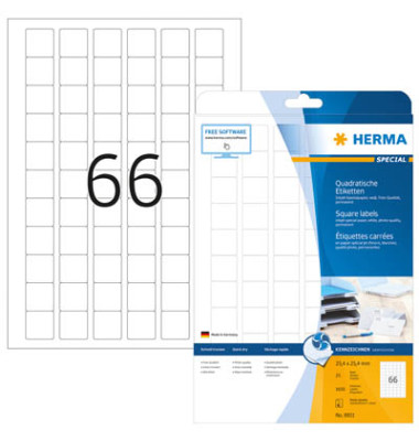 Etiketten 8831 25,4 x 25,4 mm weiß 1650 Stück quadratisch 90g