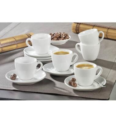 Espresso-Tassen mit Untertasse, 0,10l, aus weißem uni Porzellan,