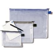 Reißverschlusstasche Mesh Bag A4 345x270mm farblos/blau 10 Stück
