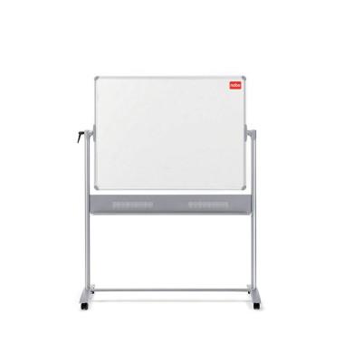 Whiteboard Mobil 150 x 120cm emailliert Aluminiumrahmen drehbar beidseitig