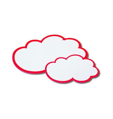 Moderationskarte Wolken mit rotem Rand weiß 25x42cm 20 Stück