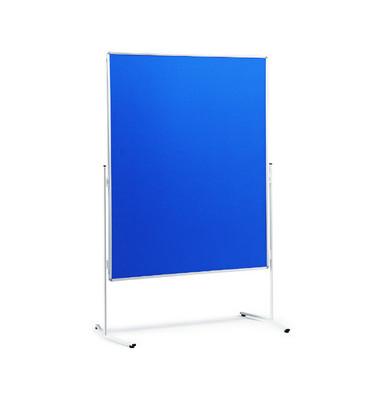 Moderationstafel, 120x150cm, Filz + Filz (beidseitig), pinnbar, blau + blau