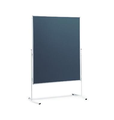 Moderationstafel, 120x150cm, Filz + Filz (beidseitig), pinnbar, grau + grau