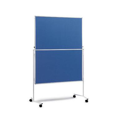 Moderationstafel, 120x150cm, Filz + Filz (beidseitig), pinnbar, klappbar, mit Rollen, blau + blau