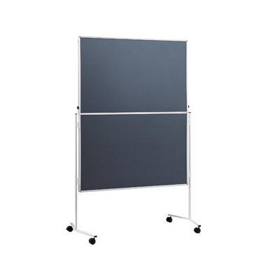 Moderationstafel, 120x150cm, Filz + Filz (beidseitig), pinnbar, klappbar, mit Rollen, grau