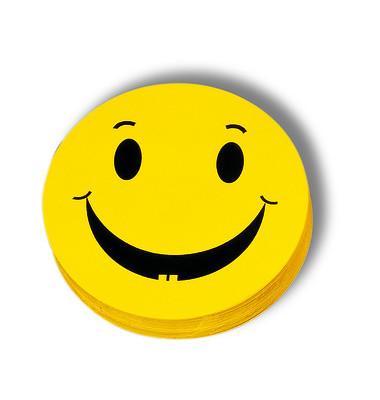 Moderationskarte Bewertungssymbole Smilies positiv gelb Ø 10cm 100 Stück