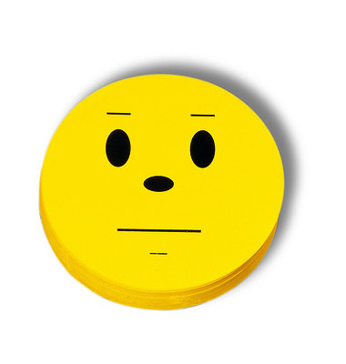 Moderationskarte Bewertungssymbole Smilies neutral gelb Ø 10cm 100 Stück