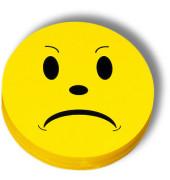 Moderationskarte Bewertungssymbole Smilies negativ gelb Ø 10cm 100 Stück