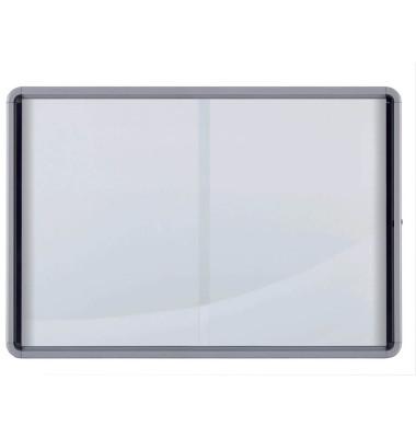 Schaukasten 1902570 12 x A4 Schiebetür Metallrückwand weiß, grau magnetisch