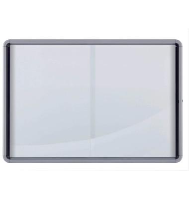 Schaukasten 1902571 18 x A4 Schiebetür Metallrückwand weiß, grau magnetisch