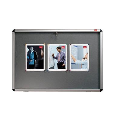 Schaukasten 8 x A4 für Innen mit Schloß,Textil zum Pinnen grau